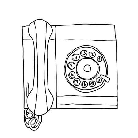 vintage telephone: green telephone Vintage Wall Phone line art illustration