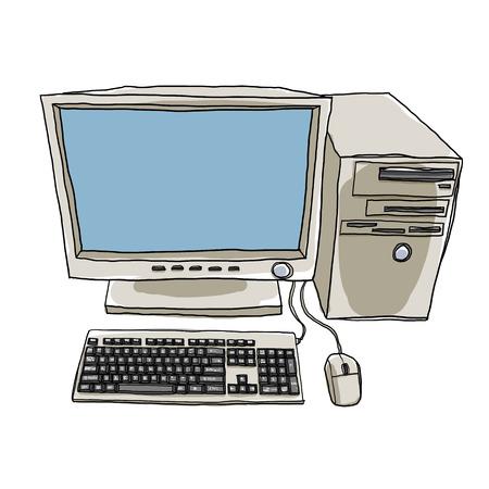 art painting: desktop computer hand drawn art painting cute illustration