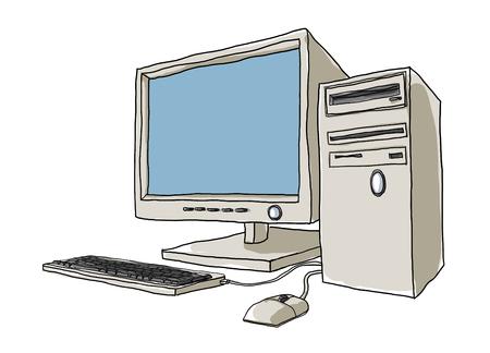 art painting: desktop computer hand drawn art painting cute illustration2 Stock Photo