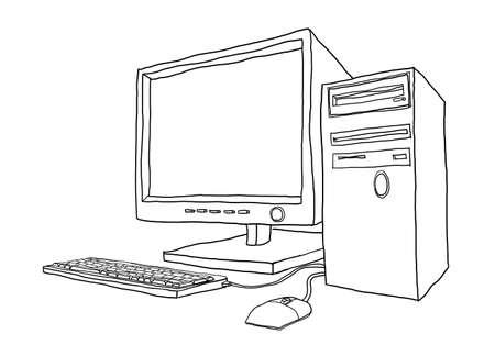 art painting: desktop computer hand drawn line art painting cute illustration2 Stock Photo