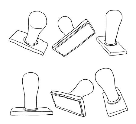 vettore stampaggio gomma mano linea tracciata pittura carino illustrazione Vettoriali