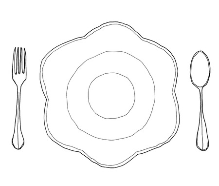 vector flowers dish plate Shape  and  fork spoon hand drawn line art cute illustration
