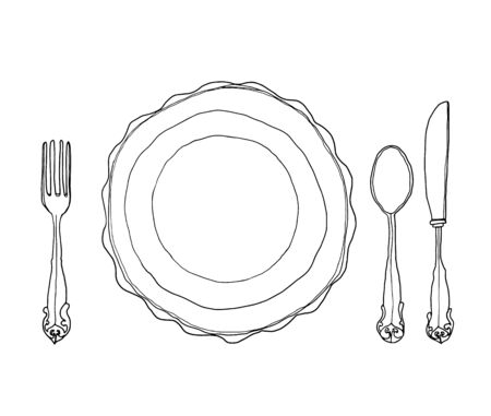 collation: vector vintage dish plate fork and spoon hand drawn line art cute illustration Stock Photo