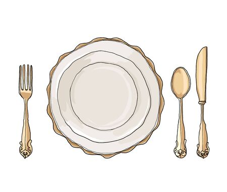 collation: vintage dish plate fork and spoon hand drawn art cute illustration Stock Photo