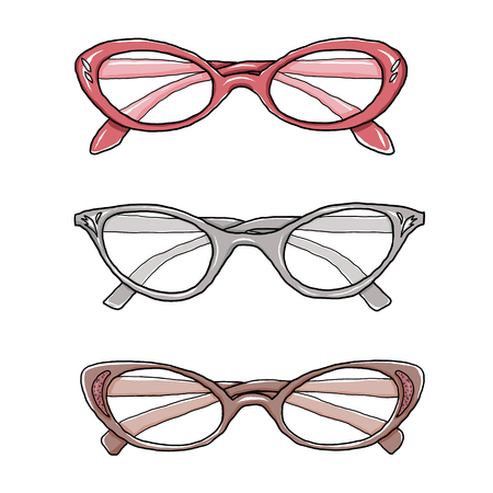 bifocals: cat eye vintage glasses hand drawn art illustration