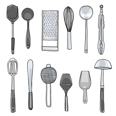 daily use item: kitchen utensils hand drawn cute art illustration