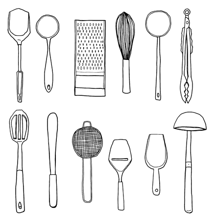 daily use item: vector kitchen utensils hand drawn cute line art illustration