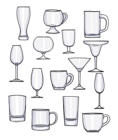 tumbler: Glass of water tumbler set hand drawn art cute illustration Stock Photo
