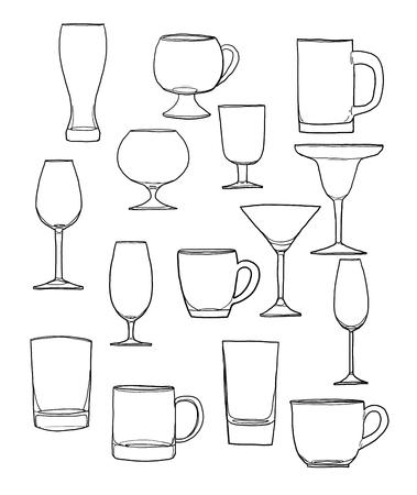 tumbler: Glass of water tumbler set hand drawn line art cute illustration