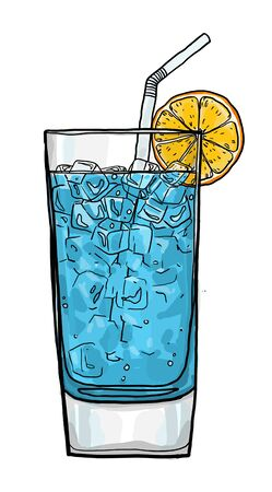 blue lagoon: Blue Lagoon coffee cocktail  hand drawn cute art painting illustration Stock Photo