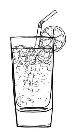 blue lagoon: Blue Lagoon cocktail caff� disegnati a mano carina illustrazione linea pittura