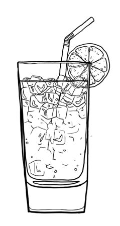 blue lagoon: Blue Lagoon coffee cocktail  hand drawn cute line art painting illustration Archivio Fotografico