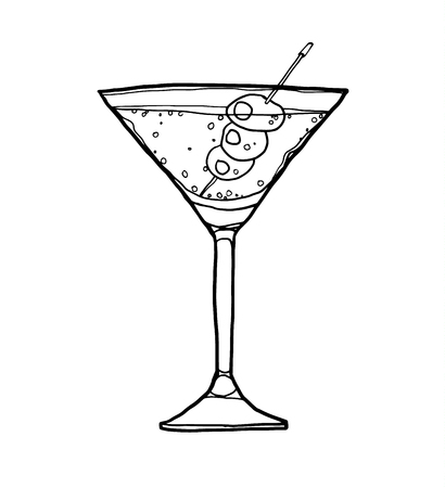 daiquiri alcohol: vector Olive Martini Cocktail with Olive hand drawn line art cute illustration Stock Photo