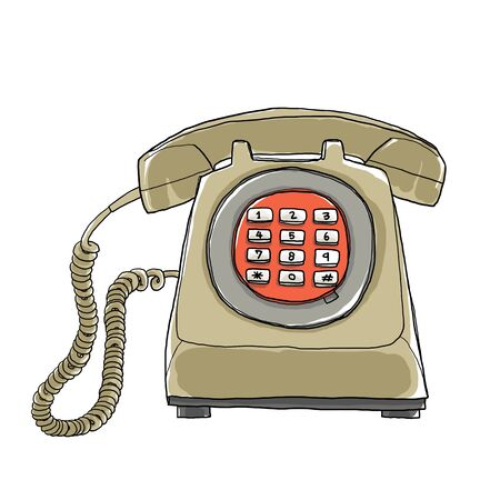 vintage telephone: Vintage  telephone hand drawn art painting cute illustration Stock Photo