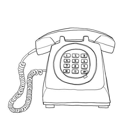 vintage telephone: Vintage  telephone hand drawn line art painting cute illustration