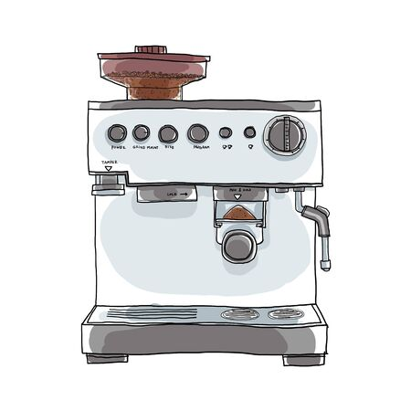 coffee maker: Coffee maker hand drawn art illustration