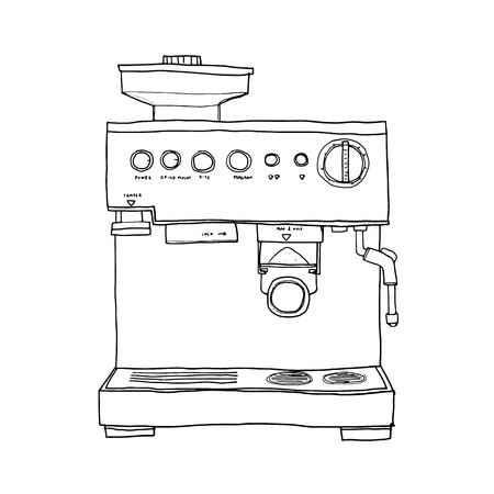 electrical appliance: vector Coffee maker hand drawn line art illustration Stock Photo