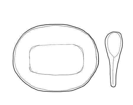 matted: Bowl and zinc spoon vintage hand drawn cute line art illustration