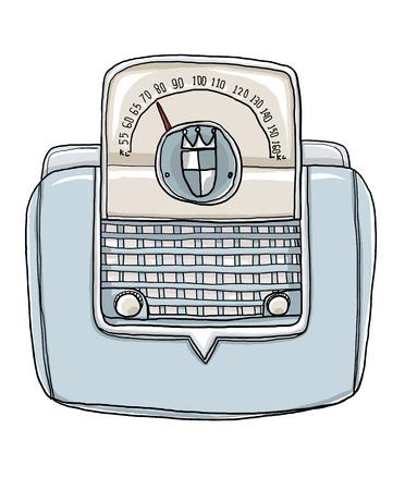 shortwave: vintage radio hand drawn art illustration