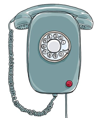 vintage telephone: blue vintage Telephone wall hand drawn art painting illustration