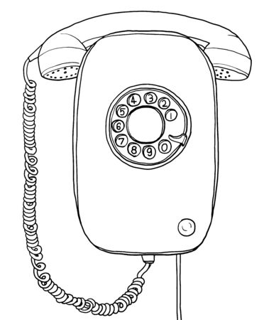 vintage telephone: vector blue vintage Telephone wall hand drawn line art painting illustration