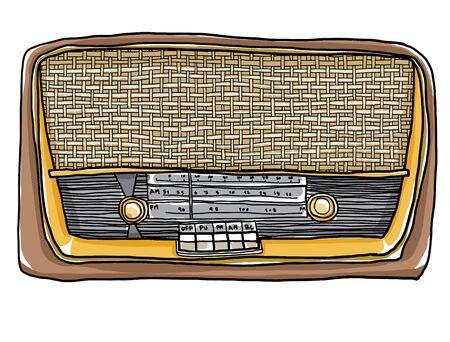 shortwave: vintage Yellow  radio hand drawn art painting illustration Stock Photo
