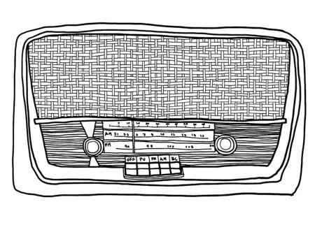 shortwave: vintage Yellow  radio hand drawn line art painting illustration