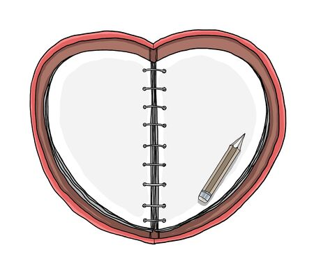 notebooks Heart Shape and pencil hand drawn  on white background painting  art illustration