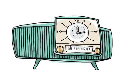 shortwave: vintage green radio cute hand drawn art illustration