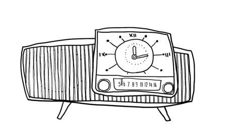 shortwave: vintage Telephone wall hand drawn line art painting illustration