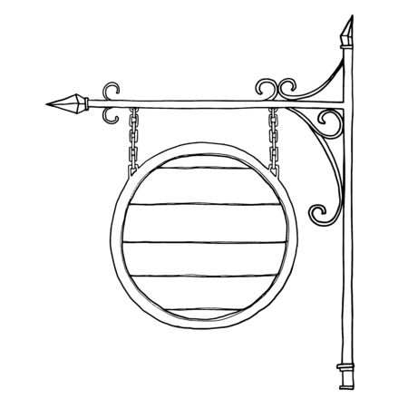 unbalanced: vector Old wood  signboard hand drawn line art illustration Illustration
