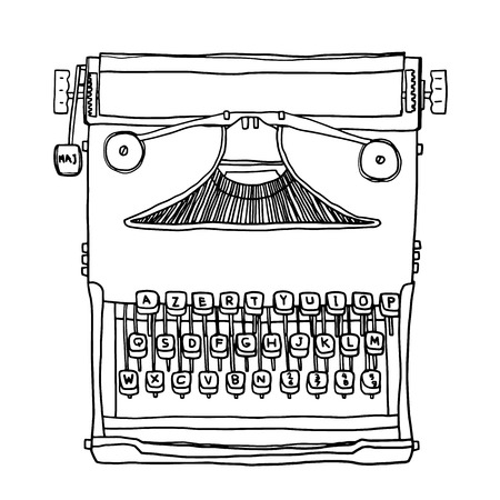 old typewriter: vector blue old Typewriter hand drawn cute line art illustration