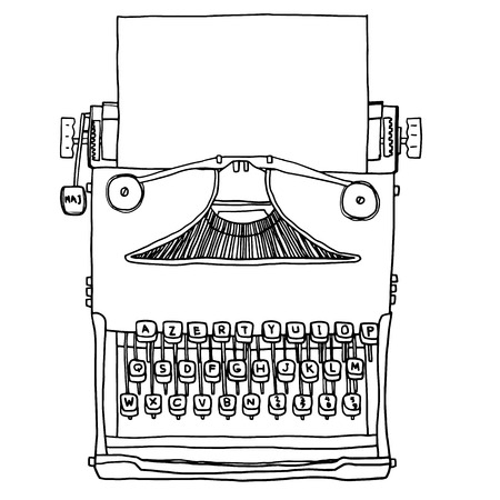 old typewriter: vector blue old Typewriter with paper  hand drawn cute line art illustration
