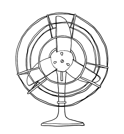 vector vintage fan cute hand drawn line art illustration