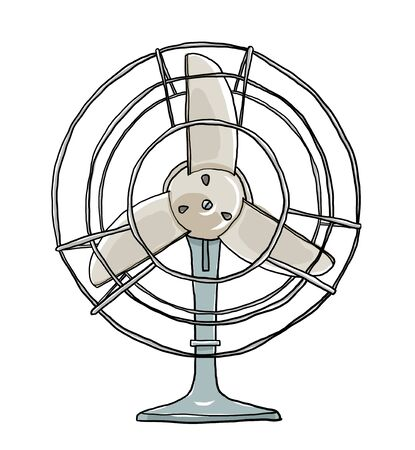 vent: vintage fan cute hand drawn art illustration Stock Photo