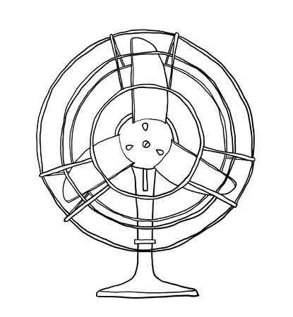 vintage fan cute hand drawn line art illustration