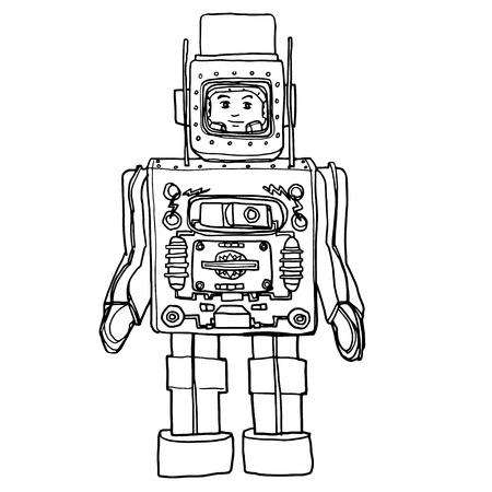 tin robot: vector Vintage Tin & Plastic  Toy Robot hand drawn cute line art illustration