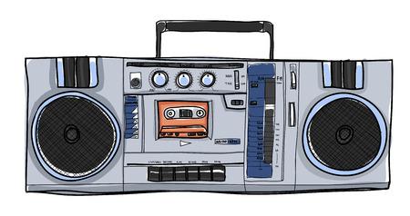 vector Stereo Boombox radio Vintage handgetekende illustratie Stock Illustratie