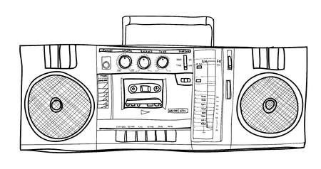 Stereo Boombox radio Vintage  handdrawn lineart illustration Stock Photo