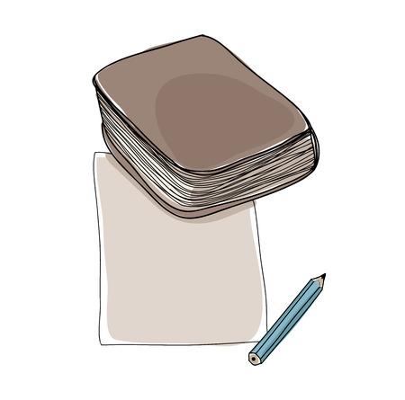 handbook: vector paper note and book hand drawn cute art illustration
