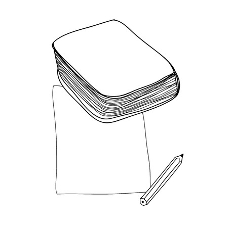 legal pad: vector paper note and book hand drawn cute line art illustration