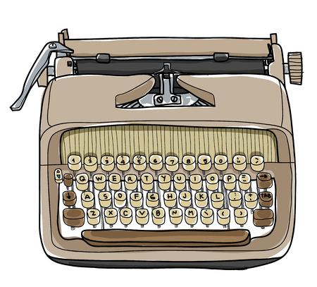 vector typewriter working portable hand drawn cute illustration