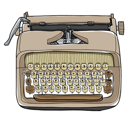vector typewriter working portable hand drawn cute illustration