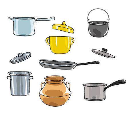 pots set.art vintage pot Vector hand drawn cute illustration