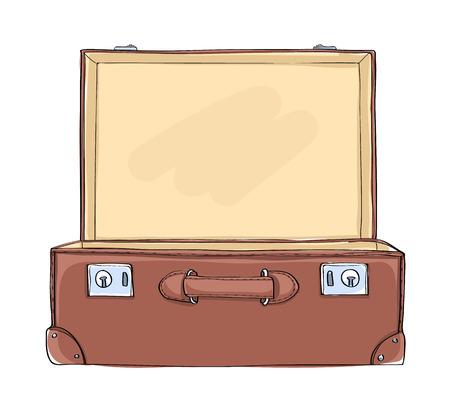 Vintage Suitcase lighting inside art illustration Vectores