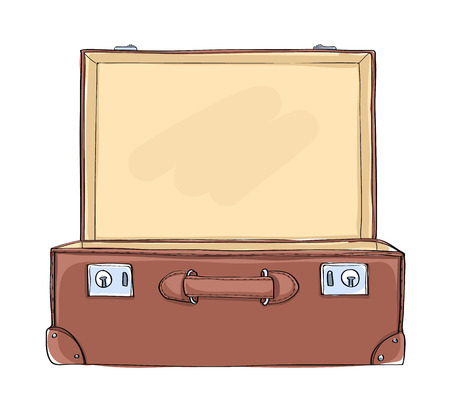 Vintage Suitcase lighting inside art illustration Иллюстрация