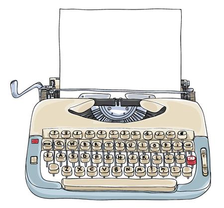 Macchina da scrivere Creme e blu con illustrazione carina arte vintage carta bianca