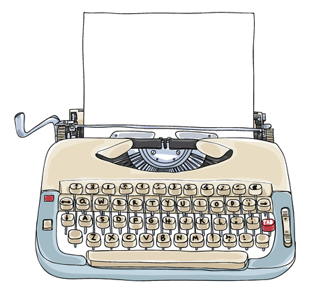 Typewriter Creme and Blue with blank paper vintage art cute illustration