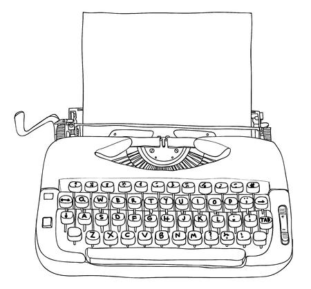 Typewriter Creme and Blue with blank paper vintage line art cute illustration Ilustração Vetorial