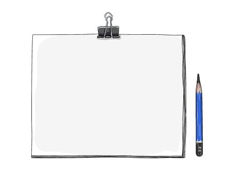 Art sketchbook maquette papier blanc et dessin crayon à la main dessiné - Illustration vectorielle